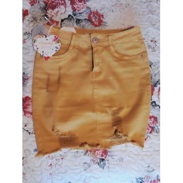 Spódnica jeans porwana jeans miodowa