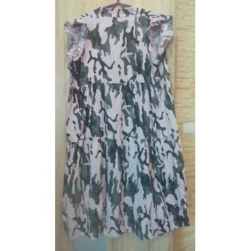 Cudna sukienka MORO, ITALIA róż+czarny, XL/2XL