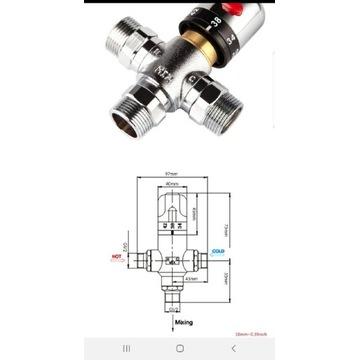 Zawór termostatyczny G 1/2 cała męski płynna reg