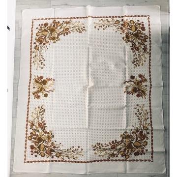 Obrus w kwiaty PRL len 160x 140cm Vintage