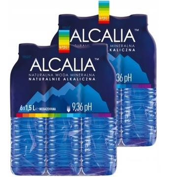 Woda Alcalia Alkaliczna wysokie pH 9,36 6x 1,5 l