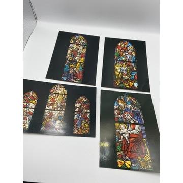 Zestaw czterech pocztówek z witrażami