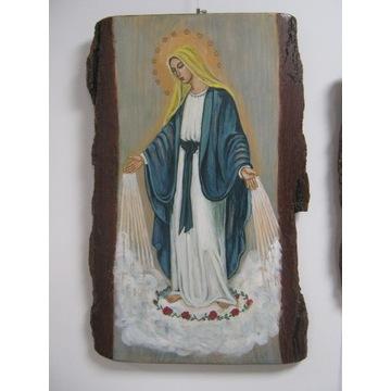 Matka Boska.Obraz ręcznie malowany na desce