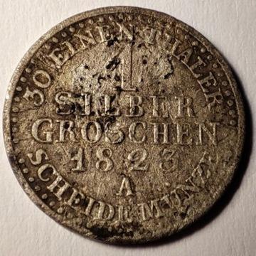 1 silber groschen 1823 A Srebro Ag
