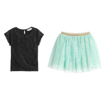 H&M tiulowa spódniczka + bluzka z koronką 134 140