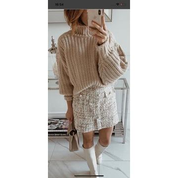 H&M sweter z golfem brudny róż XL/42 NOWY