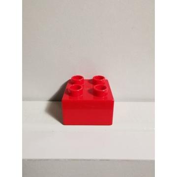 LEGO DUPLO oryginalny klocek czerwony 2x2 WAWA