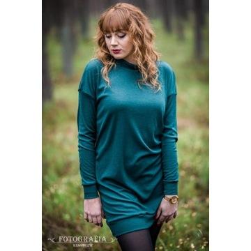 Tunika/sukienka wełniana, zieleń; Marta Dubicka