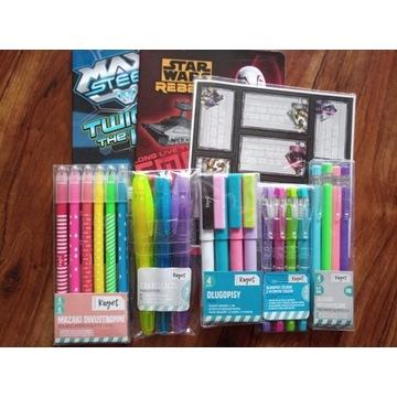 Długopisy ołówki mechaniczne mazaki zeszyty
