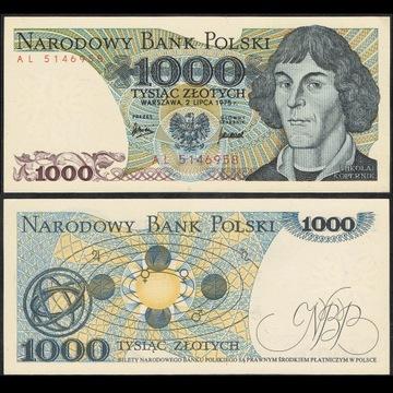1000 zł 1975 rzadsza seria AL 5146958 st. 1-