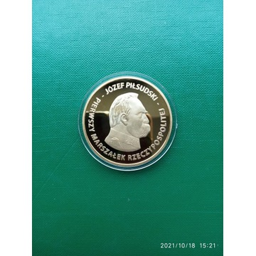 Moneta, Medal Józef Piłsudski 100 lat niepodległoś