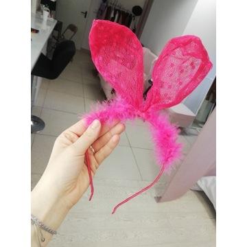 Opaska różowa królicze uszy z futerkiem