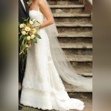 WHITE ONE 175 suknia ślubna koronkowa rybka 34/36