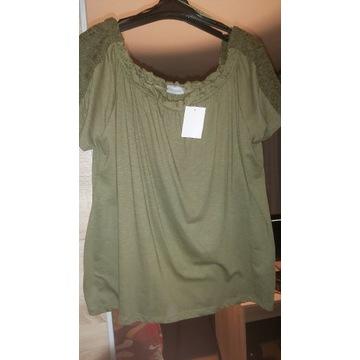 Nowa bluzka, c&a khaki, koronką,  50/52