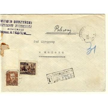 Koperta z 1950r - Wałcz ze znaczkami: nr536 i 513.