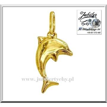 Złota zawieszka delfin złoty dwustronny delfinek