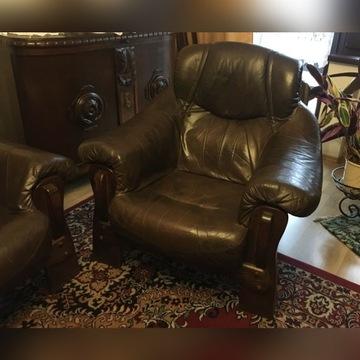 Komplet skórzany sofa + dwa fotel