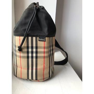 Beżowy w kratę plecak torba Burberry vintage