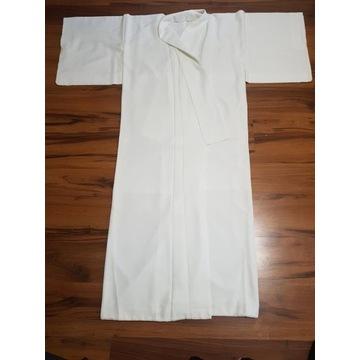 Białe japońskie jedwabne Kimono nagajuban cosplay