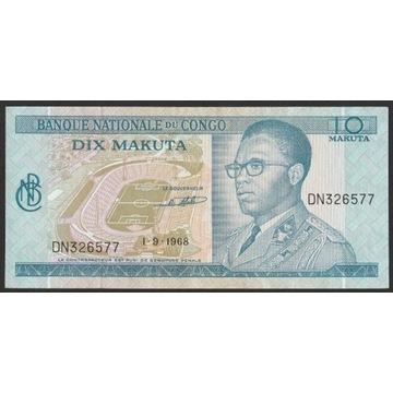Kongo Zair 10 makuta 1968 - stan bankowy UNC