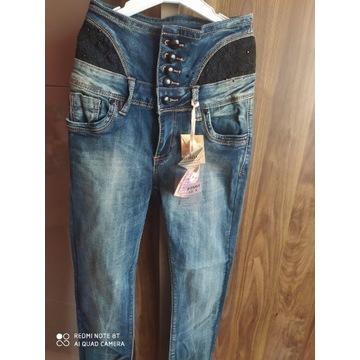 Piękne elastyczne spodnie jeansowe wysoki stan S