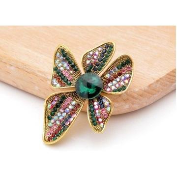 Broszka kwiat kolorowa elegancka brooch BA110