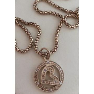 łańcuszek srebrny vintage 925 z zawieszką