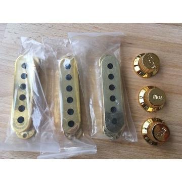 Osłonki pickup stratocaster gold
