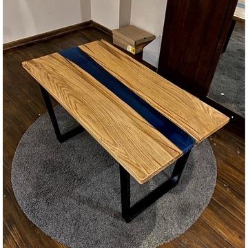 Stół / stolik dębowy z żywicą epoksydową