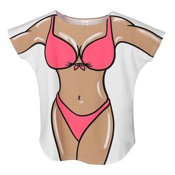 Koszulka oversize z motywem sylwetki bikini