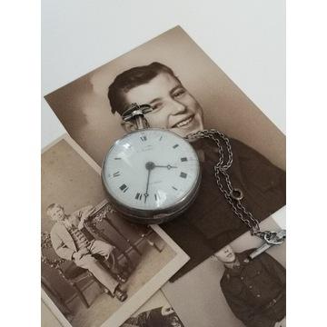 XIX-wieczny srebrny Szpindlak zegarek kieszonkowy