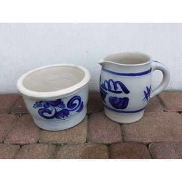 Piękny ceramiczny komplet-garnek+dzbanek