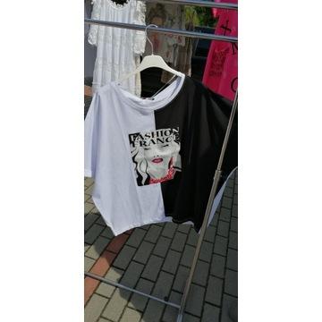 Bluzka biało-czarna wzór;