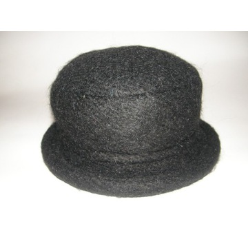 Zgrabny damski kapelusz melonik 56-58cm CZARNY