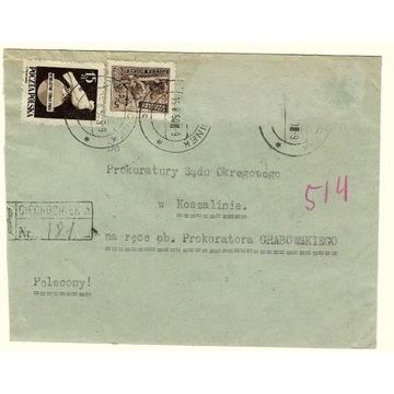 Koperta z 1950r ze znaczkiem nr  518 i 513