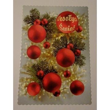 Kartka Boże Narodzenie bombki gałązki