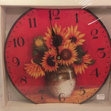 Zegar Ścienny Duży Słoneczniki