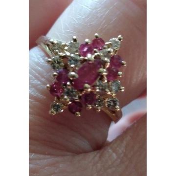 Pierścionek, 585, brylanty rubiny, XX w.