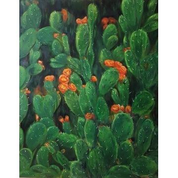 Obraz olejny ręcznie malowany 100x80 cm Kaktus