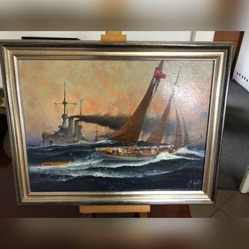 """Obraz olejny """" Kuter na morzu"""" Marynistyka"""