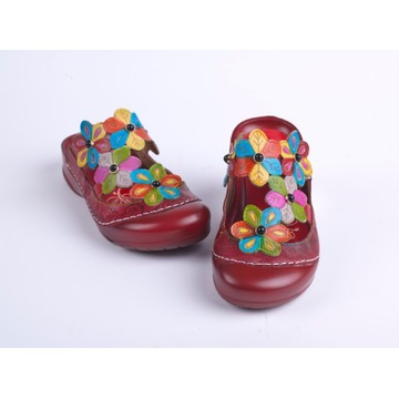 Buty damskie kolorowe wygodne klapki etno boho 38