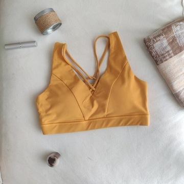Stanik sportowy do jogi i fitnessu żółty XS-S