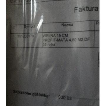 6x Wełna 15cm Isover PROFIT Mata 4,8m2 do 35
