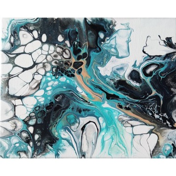 Obraz ręcznie malowany pouring abstrakcja 9 24x30