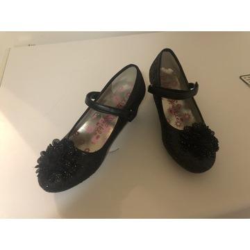 Dziewczęce czarne brokat pantofle i r.35/36 23cm