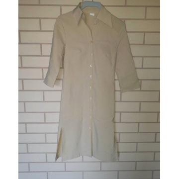 Piaskowy komplet długa koszula spodnie retro 38 S