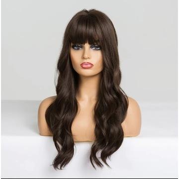 Długa ciemny brąz peruka kręcona jak naturalne