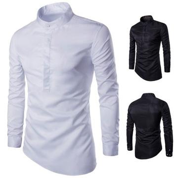 Koszula elegancka męska SLIM biała stójkaXL wesele