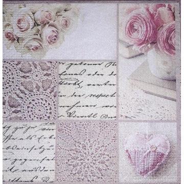 Serwetka decoupage 2 szt, MAŁE, róże, retro