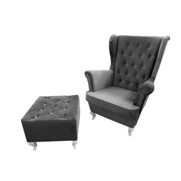 Fotel USZAK+PODNÓŻEK pikowany, kolory.